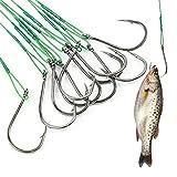 Basetousual 50 Piezas de Anzuelos de Pesca de Anzuelo de Acero Al Carbono, Anzuelos de PúAs, Adecuados para Pescar Carpa, Lucio de RíO Y OcéAno, SalmóN, Perc