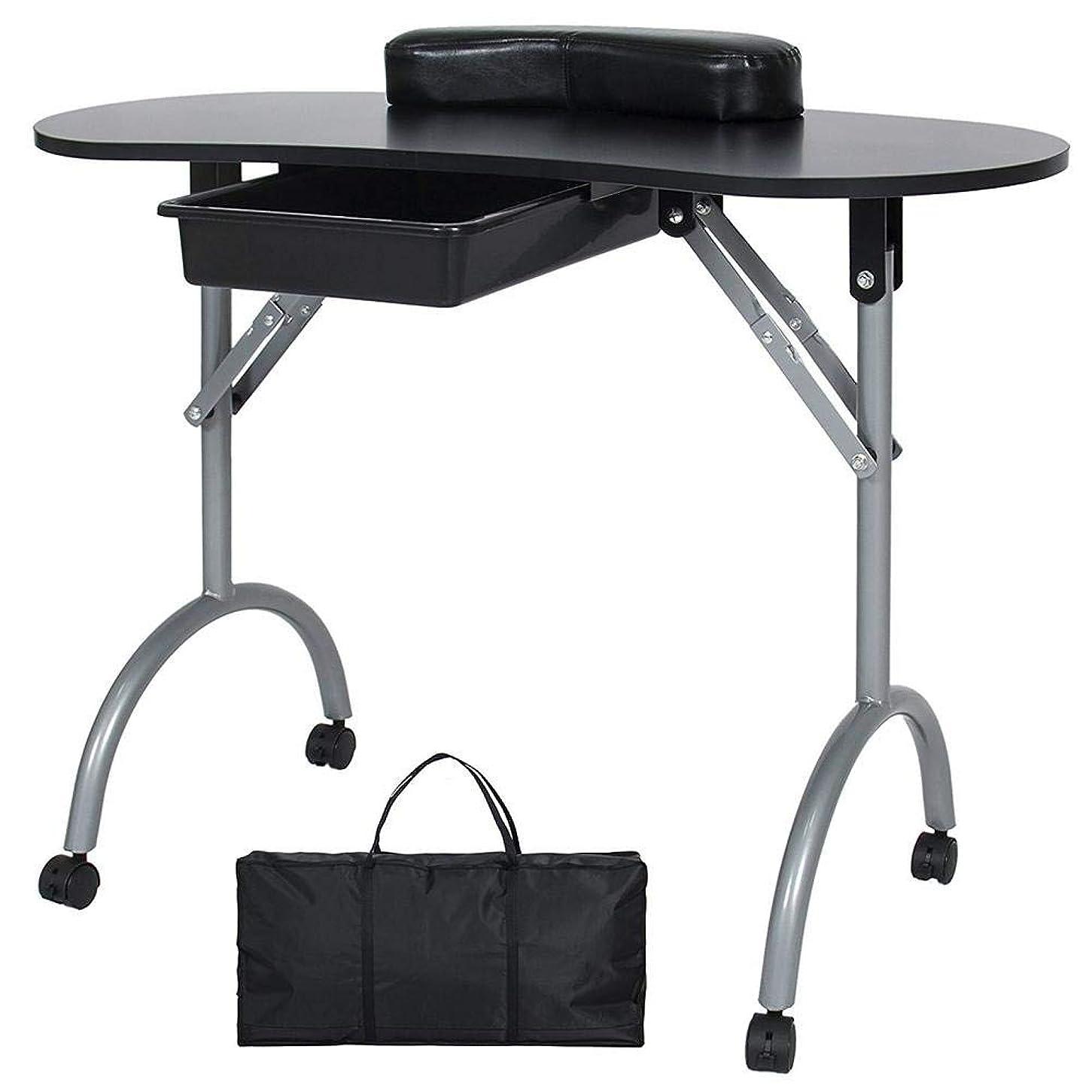 匹敵しますカウンタ高度FMEZYネイルテーブルマニキュアテーブル製品ポータブルマニキュア折りたたみデスクワークステーション付きキャリングバッグ