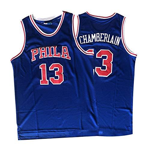 Camiseta de Baloncesto Wilt Chamberlain 13# Philadelphia 76ers Street Retro Camiseta Verano Bordado Tops Boy Swingman Baloncesto Disfraz Regalo de cumpleaños (S-3XL)-S(165.170cm)