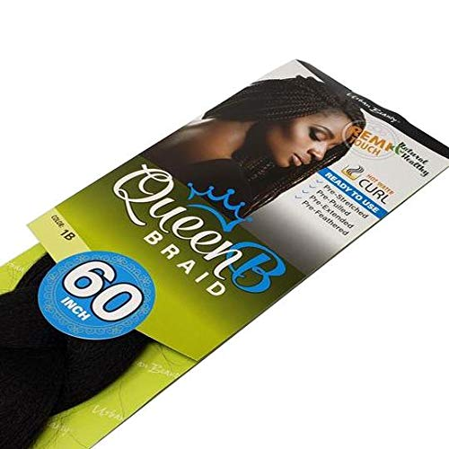 """QueenB Synthetic Pre-Stretched Hair 60"""" Two Tone Black/Auburn"""