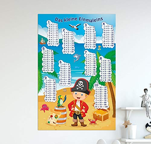 Unbekannt Poster Das kleine Einmaleins mit dem Piraten - Größe 61 x 91,5 cm - Maxiposter