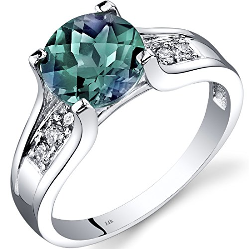 14K White Gold Created Alexandrite Diamond Cocktail Ring 2.25 Carats Size 6