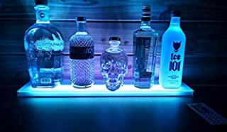 Sea Star ® Home Bar Lighting - 2 Ft LED Lighted Liquor Bottle Display Shelf Includes Remote Control