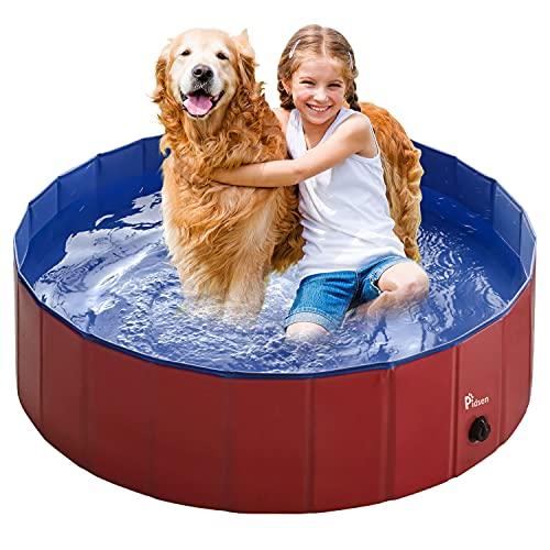 Pidsen Hundepool Swimmingpool PVC tragbare Faltbare Hunde Katzen Bad Wanne Badewanne Waschbad Haustier Schwimmbad Wasser Teich (120 * 30cm, Rot)