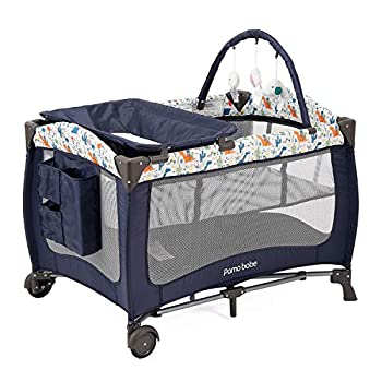 Pamo Babe Deluxe Nursery Center ,Portable Playard with Bassinet,Changing Table and Toy bar with Soft Toys White