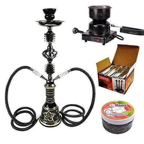 RMAN® Shisha Set mit Shisha, Kohleanzünder, Naturkohle, Kaminkopf, Dampfsteine und eine kleine Überraschung (Schwarz
