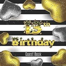 13th Birthday Guest Book: Cute Golden Silver Hearts Idea 8.5