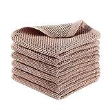 Huante - Lote de 6 toallitas para vajilla de cocina de tejido gofrado, 100% algodón, paños de secado rápido, absorbentes, ultra suaves, 13 x 13 pulgadas, color marrón