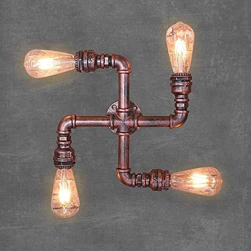 AXWT Lampada da Parete Retro Tubo dell'Acqua Bronzo Applique da Parete in Metallo Appeso Lampadina da Muro Industriale Applique (Lampadina Non Inclusa)