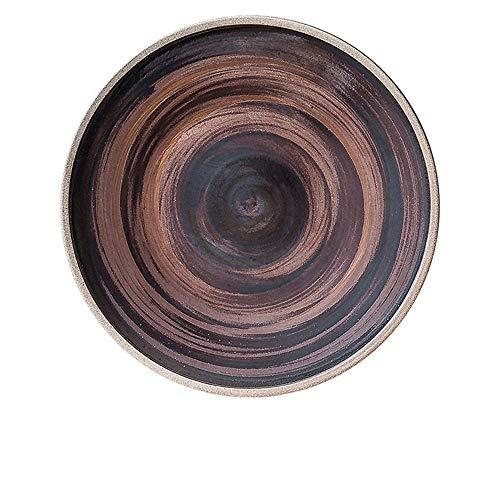 LILICEN Placa de Piedra nórdica Pasta Steak cerámica de la Fruta Creativa Placa Occidental Pizza Placa Placa de los Cubiertos Rojo marrón 18cm