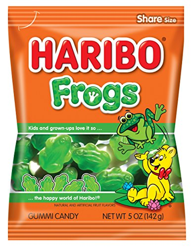 Haribo Gummi Candy, Frogs, 5 oz. Bag (Pack of 12), CLEAR