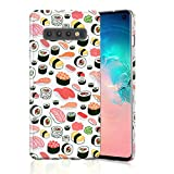 Sushi Case for Galaxy S10 Plus, Raised Edges Scratch Resistant Lightweight Flexible Soft TPU Rubber Silicone Cell Phone Cover for Samsung Galaxy S10+ Seamless Sushi Sashimi Pattern
