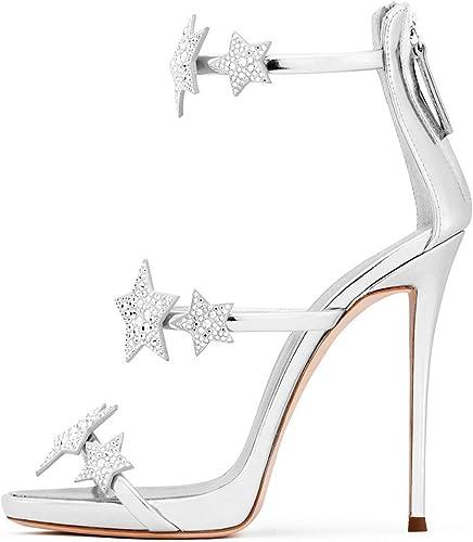 Sandalias de Tacón para damen Romano Stiletto de Moda Estrellas con Cremallera Trasera Silberforma Impermeable 2cm Sexy para Fiesta Nupcial Bar 2019