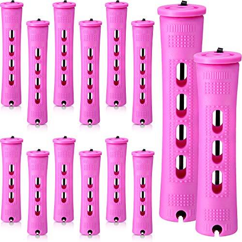 48 Barras de Permanente de Cabello 2 Tamaños Varillas de Onda Fría de Permanentes de Plástico Rulos de Pelo para Peluquería (Morado, 0,75 x 2,36 Pulgadas, 0,75 x 3,27 Pulgadas)