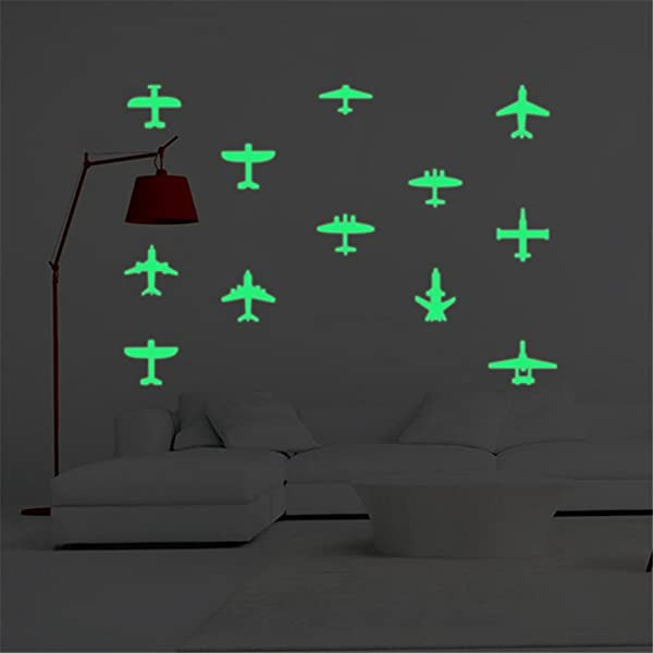 Transer Luminous Wall Stickers Fluorescent Kids Room Airplane Home Decor Glow In The Dark 12PC Z D
