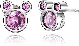 Mouse Stud Earrings Sterling Silver Birthstone Earrings Stud for Women Girl Birthday Gift
