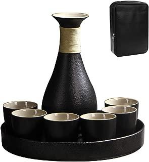 LTLWSH Juego de Sake de 8 Piezas de Gres, Conjunto Tradicional Japonés con 1 Botella de Sake 6 Sake Cups y Bandeja, Estilo Japonés, Mejor Regalo de Cumpleaños, Navidad, San Valentín,Negro