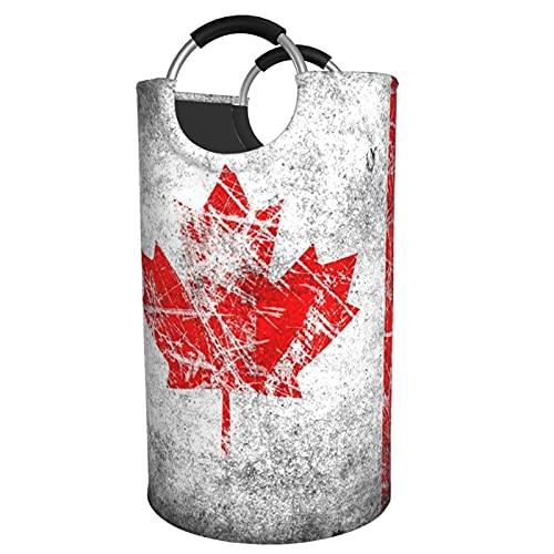 Sunmuchen Cesta de lavandería retro con bandera de Canadá, impermeable, grande, organizador para ropa, juguetes, dormitorio, baño, con asas de aluminio