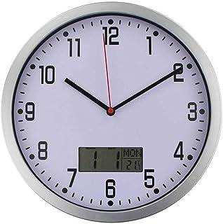 Reloj con calendario y fecha, reloj digital con gran pantalla de dígitos transparentes, reloj despertador con marco de fotos digital HD.