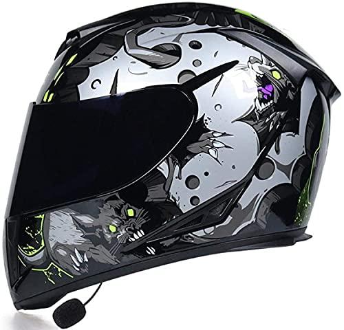 Cascos De Moto Integrados Con Bluetooth, Cascos De Moto Abatibles De Cara Completa, Cascos De Moto De Doble Visera Antiniebla Para Adultos, Certificado ECE Con Visera Solar Casco De Moto B,L