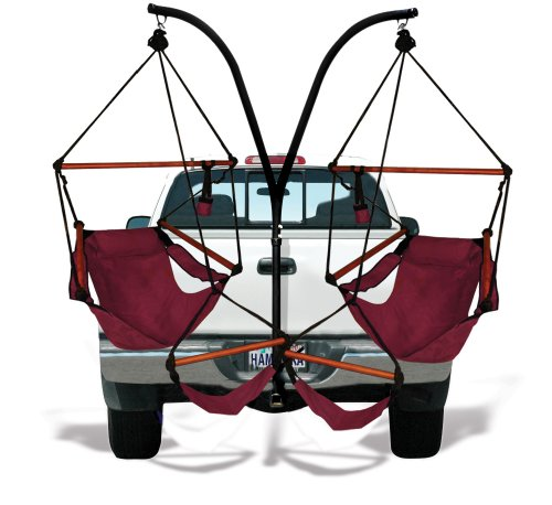 Hammaka Trailer Hitch Stand and 2 Burgundy Chairs Combo - Wood Dowels