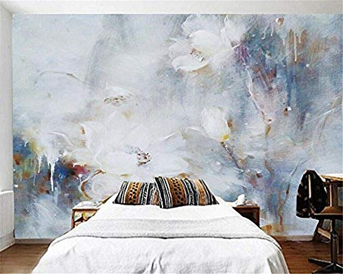 XHXI Papel tapiz 3D Estéreo Abstracto Lotus Pintura al óleo Arte moderno Pintura de pared Sala de estar Dormit Pared Pintado Papel tapiz Decoración dormitorio Fotomural sala sofá mural-300cm×210cm