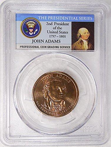 2007 D Pos. B John Adams Presidential Dollar PCGS MS 66 FDI Presidential Label Holder