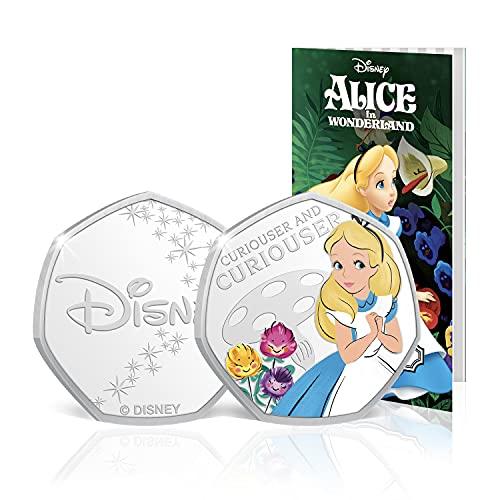 FANTASY CLUB Disney Alice im Wunderland Komplette Sammlung - 50p geformte Silberne Gedenkmünze für 50 Pence / Offizielle Disney-Geschenke in limitierter Auflage