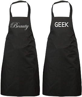 Parejas belleza Geek negro delantal juego regalo aniversario