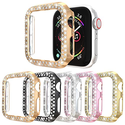 5Pack Protector Case Compatible with Apple Watch Series 5 Series 4 44mm Cover, Double Row Bling Crystal Diamonds Protective Cover PC Plated Bumper Frame