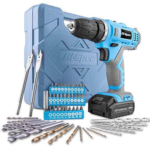 Hi-Spec 49-teiliges Akkubohrmaschinenset mit 12V Bohrer in Blau und den gebräuchlisten Holz, Metal und Steinbohraufsätzen in einer praktischen Box