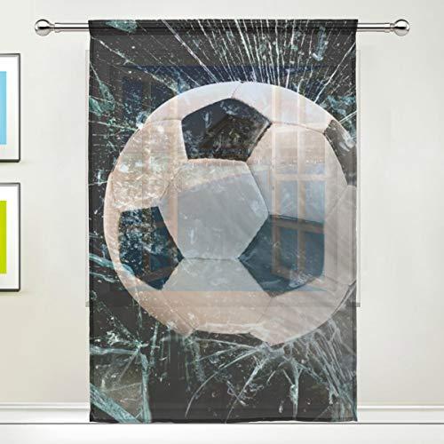 NaiiaN Scheibengardine mit Fußball-Motiv, 139,7 x 198 cm, 1 Scheibe aus Voile, Tüll, Fenstervorhang für Schlafzimmer, Wohnzimmer, Heimdekoration, Image 416, 55x78x1(in)