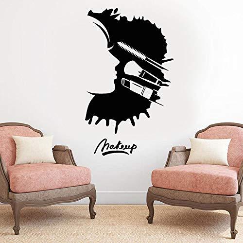Maquillaje Salón de belleza Mujer Cara Cosméticos Etiqueta de la pared Diseño de interiores Habitación Ventana Calcomanías Tienda Decoración Mural extraíble A2 57x95cm
