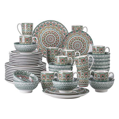vancasso Serie Mandala Vajillas de 48 Piezas Completas Vajillas de Porcelana Multicolor...