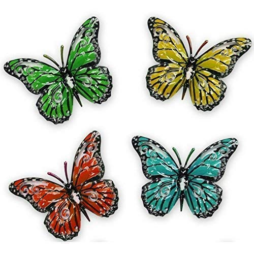 Maggy Kay Gifts Set of 4 Decorative Garden Butterfly Fence Hangers for Outdoor Sheds Walls Fences