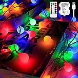 Fairy Globe String Lights Batterie - 10m 100 LED Globe String Lights, Indoor Outdoor Globe Lights mit Fernbedienung für Garten, Schlafzimmer, Party, Weihnachtsdekoration (Multicolor)