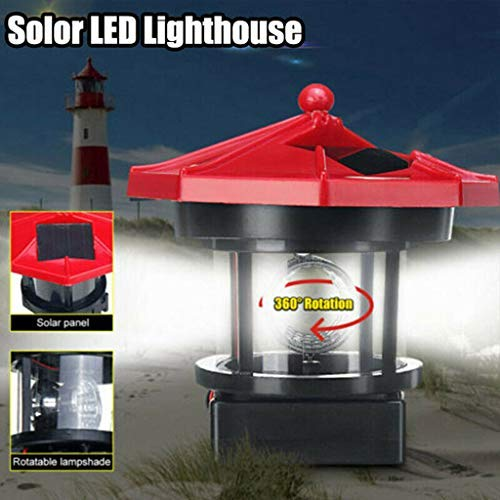 Solar Lighthouses for the Yard - LED Solar Powered Lighthouse - Waterproof Statue Rotating Lights - for Garden Lighting, Waterproof Beacon Suitable Outdoor Ornament Decoration for Lawn/Patio/Pond