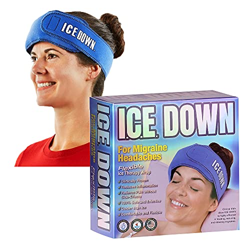"""ICE Down Migraine Ice Head Wrap, Cold Therapy Wrap with 2 Reusable Ice Packs, Compress for Headaches, 27"""" x 3.5"""" Wrap, 11"""" x 3"""" Gel Ice Packs"""