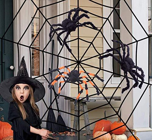 Sayala Telaraña gigante gigante de 300 cm con 3 arañas coloridas para la fiesta de Halloween Jardín Casa embrujada Jardín Decoración al aire libre