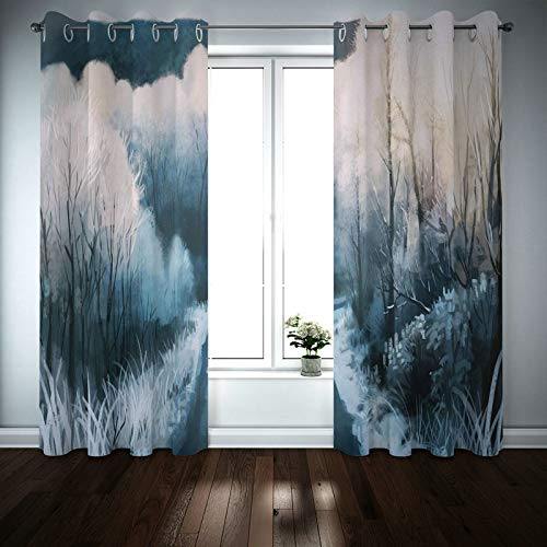 Kihomedy Thermal Noise Reduction Curtains, Deer And Trees Grey for Kids Eyelets Window Treatments 84X54 Inch 2 Panels
