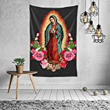 BLACK SP Our Lady of Guadalupe Virgin Mary Home Decoration Vintage Hippie Tapestry for Room Wall Hanging Mural Bedroom Living Room Blanket Dormitory Fashion Wall Art 60x40in
