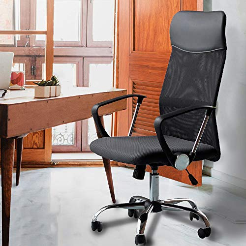 Flyelf Hoch Rücken Bürostuhl Ergonomische Schreibtischstuhl Drehstuhl mit Netzrücken(Schwarz)