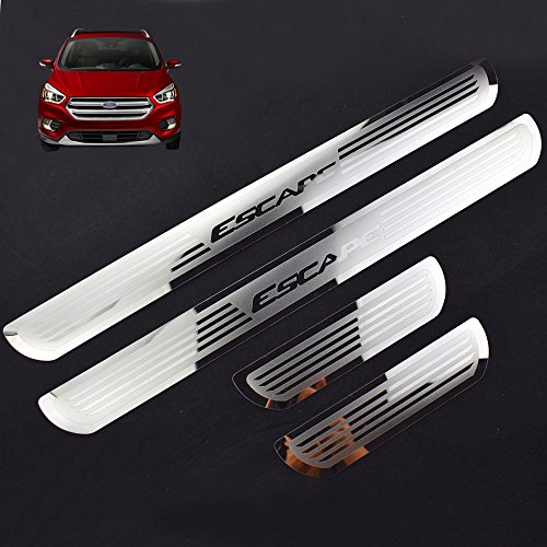 Weigesi Stainless Steel Sill Scuff Plate Door Sill Protector for Ford Escape Accessories 2014-2020
