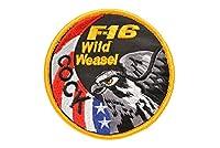 丸型 F16 ファルコン ミリタリー ワッペン パッチ サバゲー ベルクロ付 黄色