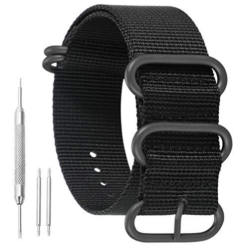 AUTULET 21mm Noir de Bandes Militaires Sangles de Montres de Style en Nylon Durable Remplacements pour Les Hommes