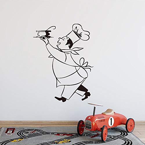 Stickers Cuisine Chef Cuistot Vinyl Muurstickers Sticker Mural Wall Art Keuken Tegel Behang Huisdecoratie 55X75CM