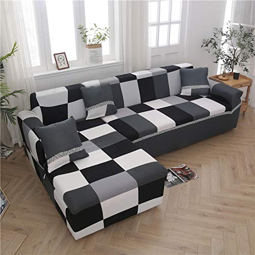 TAYIBO Elástica Cubre Sofa Universal,Funda de sofá de Esquina en Forma de L, elástico Estampado, Sala de Estar-E_2seater_and_3seater
