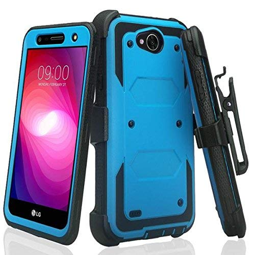 SPYCASE Rugged Holster Case Compatible for LG X Power 2/Fiesta LTE/X Charge/K10 Power/Fiesta 2Cover [Built in Screen Protector] Heavy Duty Swivel Belt Clip Kickstand - Blue