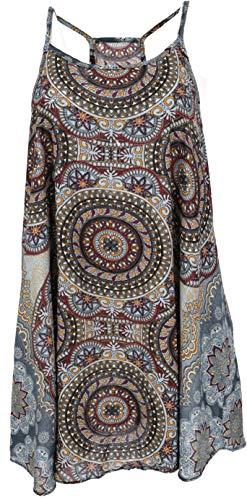 Guru-Shop Boho Dashiki Minikleid, Trägerkleid, Strandkleid, Tank Top, Damen, Taubenblau/goldgelb, Synthetisch, Size:38, Kurze Kleider Alternative Bekleidung