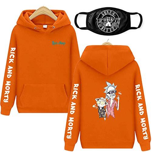 Sudadera con capucha con impresión 3D, Rick And Morty, de manga larga, con capucha, para hombre y mujer, naranja, S